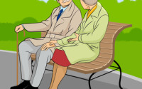Vector illustration of a older couple in the park
