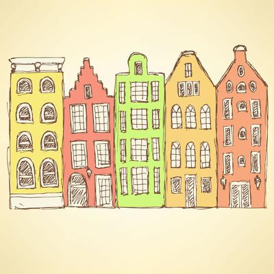 Sketch Amsterdam hauses in vintage style, vector