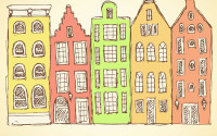 Sketch Amsterdam hauses in vintage style, vector